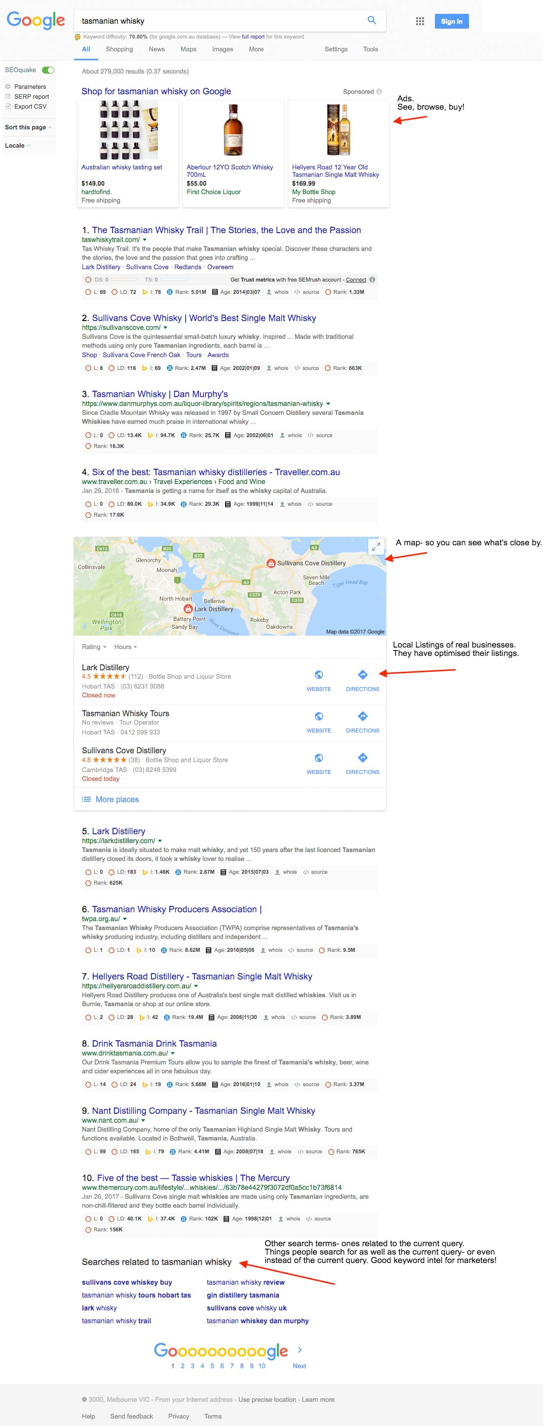 inclusions within organic search results- a 2017 screenshot showing entities, maps, local listings and related queries