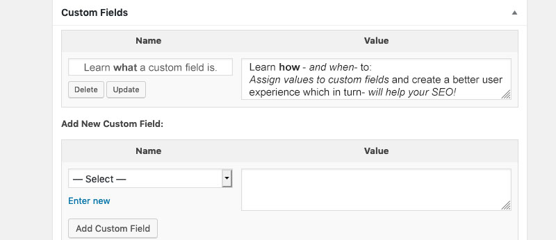 Learn to use WordPress custom fields for SEO